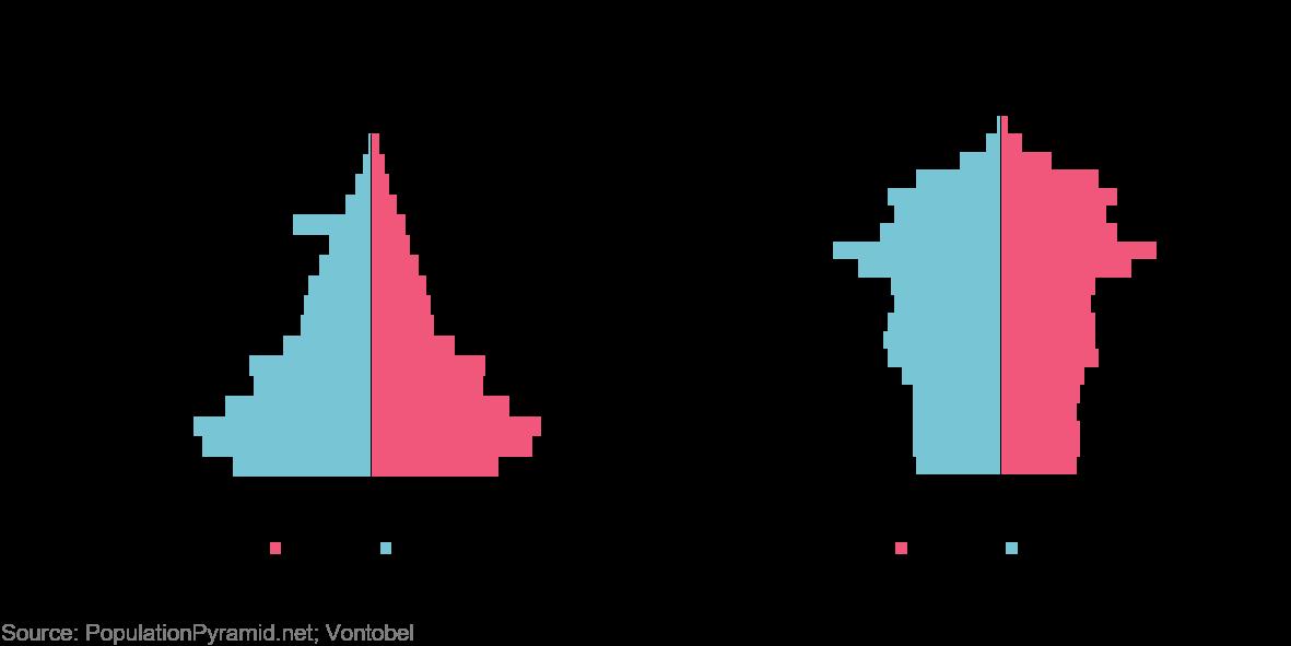 La piramide demografica cinese del 1980 (a sinistra) confrontata con quella del 20150 (Fonte: populationpyramid.net)
