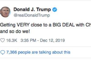 """Trump twitta: """"Vicini a un accordo con la Cina"""", Wall Street vola"""