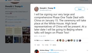 """Dazi, Trump: """"Firmerò l'accordo con la Cina il 15 gennaio"""""""
